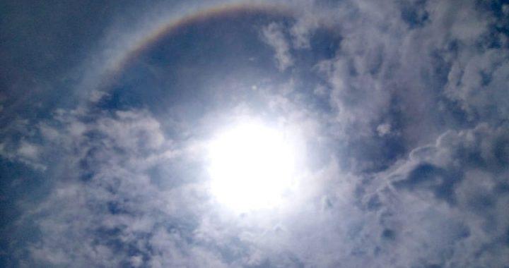 Halo solar durante temblor en Veracruz