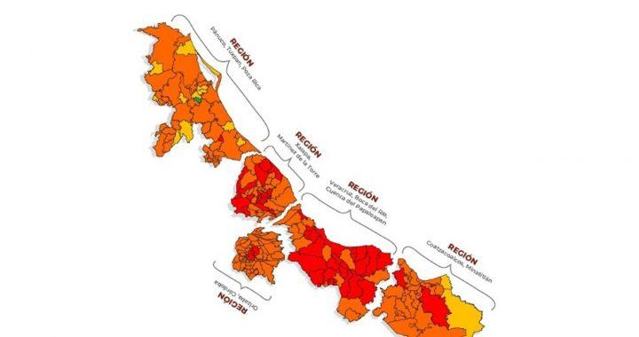 Veracruz, Alvarado y Medellín en semáforo rojo Covid
